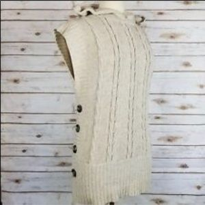 COPY - Etcetera Beige Lambswool Unique Hooded Vest